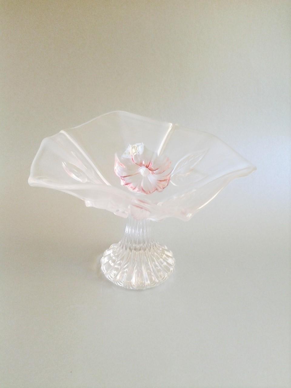 sklenená vintage miska na stopke 18 x 13 cm