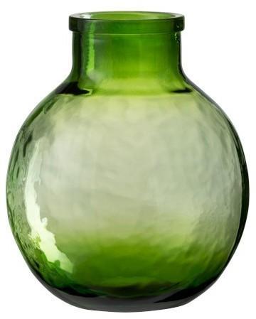 Sklenená zelená, transparentná váza benka - Ø 24*31 cm