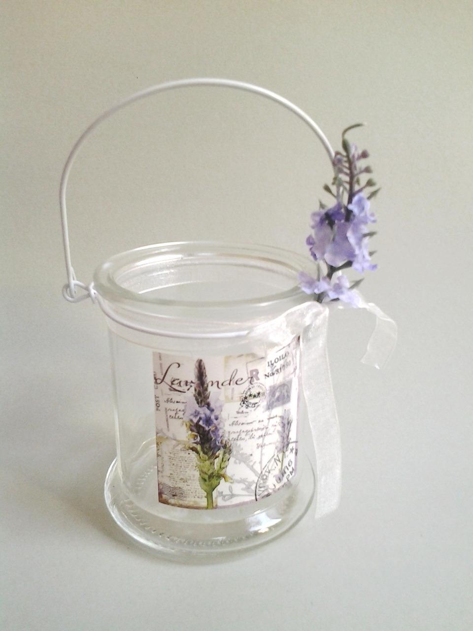 sklenený svietnik levanduľa 9 x 10 cm