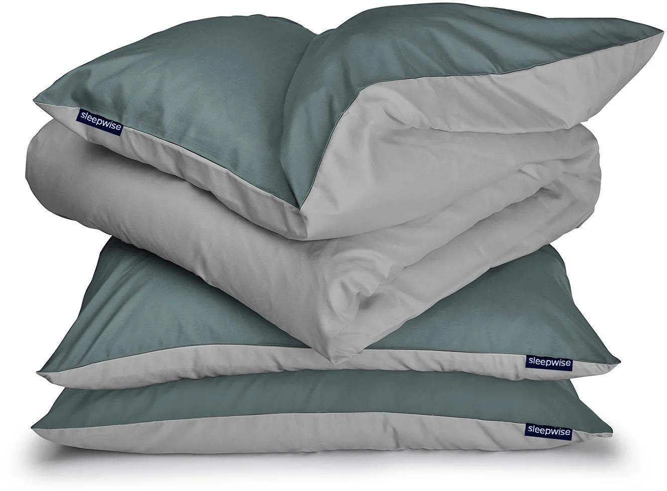Sleepwise Soft Wonder-Edition, posteľná bielizeň, zelenosivá/svetlosivá, 200 × 200 cm, 80 x 80 cm