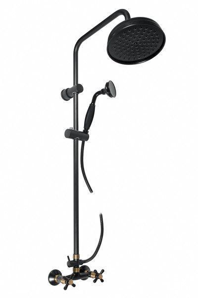 SLEZAK-RAV - Vodovodné batérie sprchová MORAVA RETRO s hlavovou a ručnou sprchou, Farba: čierna matná / stará mosadz, Rozmer: 100 mm MK181.0 / 3CMATSM