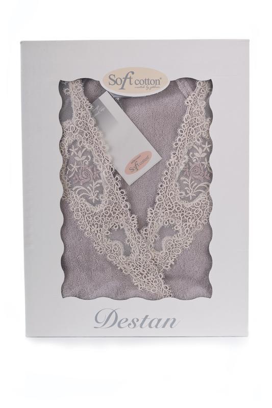 Soft Cotton Dámsky elegantný župan DESTAN v darčekovom balení. Francúzsky štýl dámskeho županu DESTAN je navrhnutý pre výrazné a asertívne ženy. Púdrová L