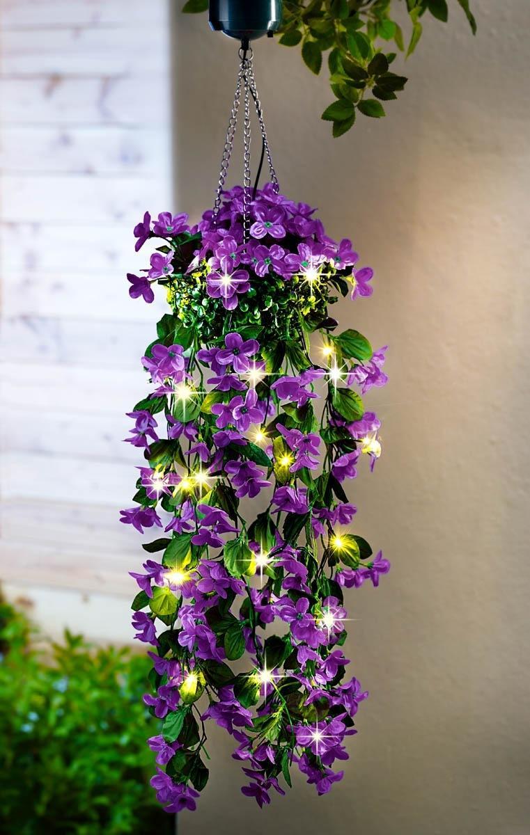 Solárna závesná kvetina Čarovné kvety, lila