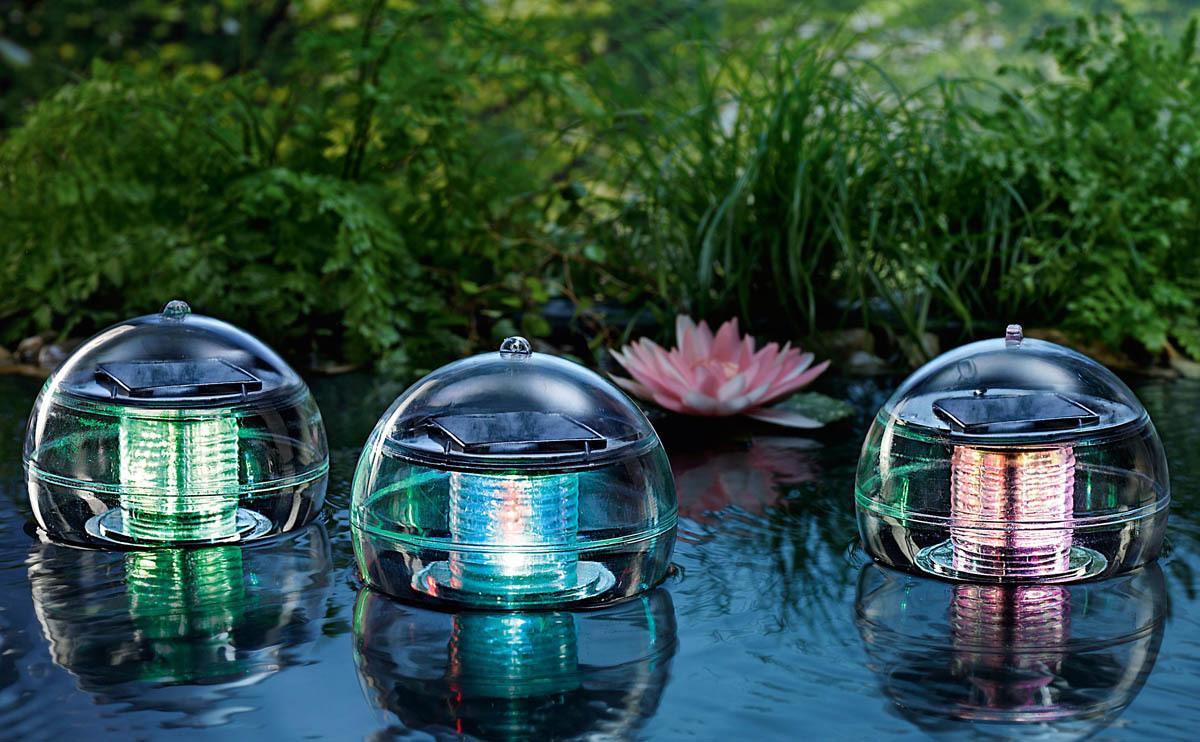 Solárne plávajúce gule meniace farby, 3 ks