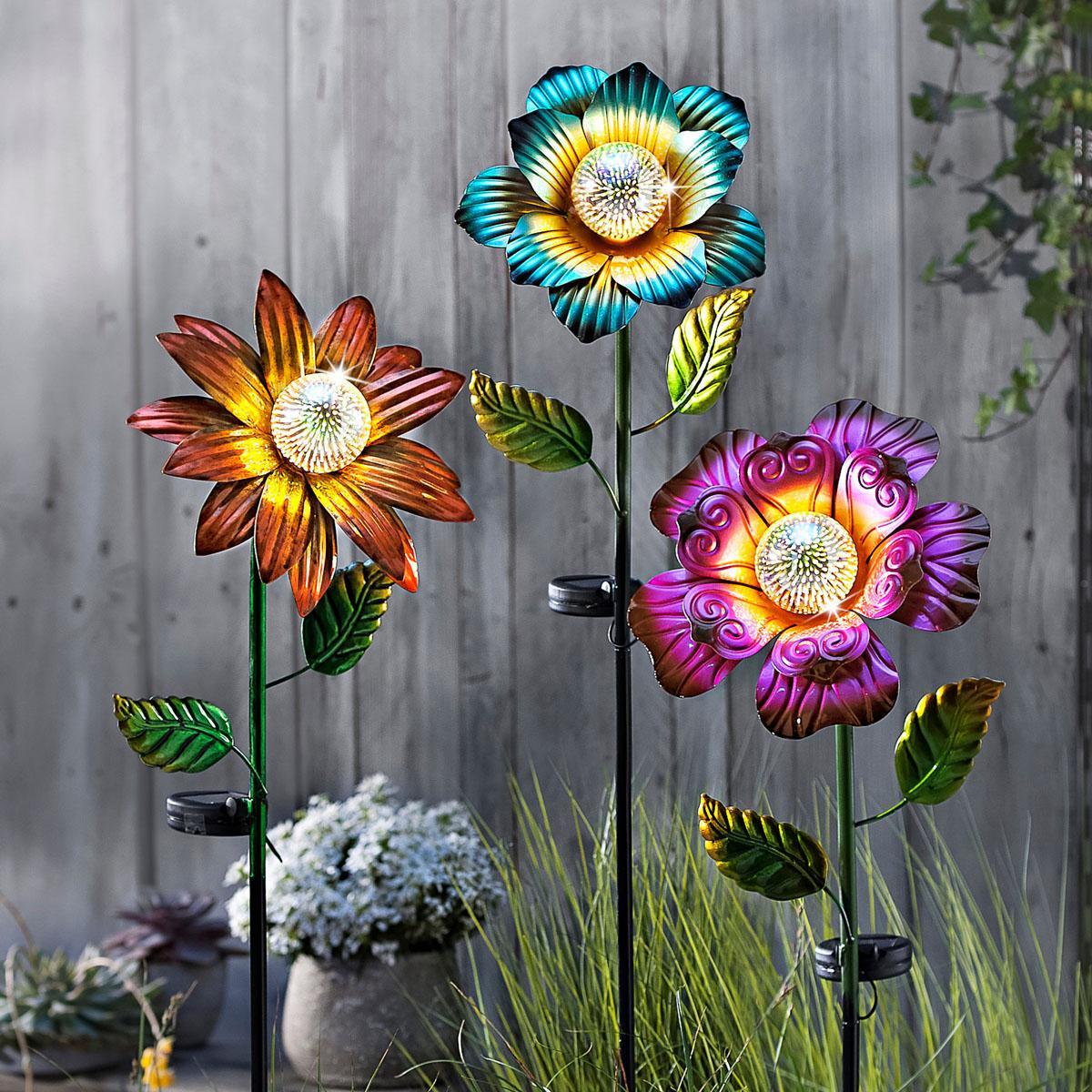 Solárny záhradný zápich Kvet Emócie, súprava 3 ks