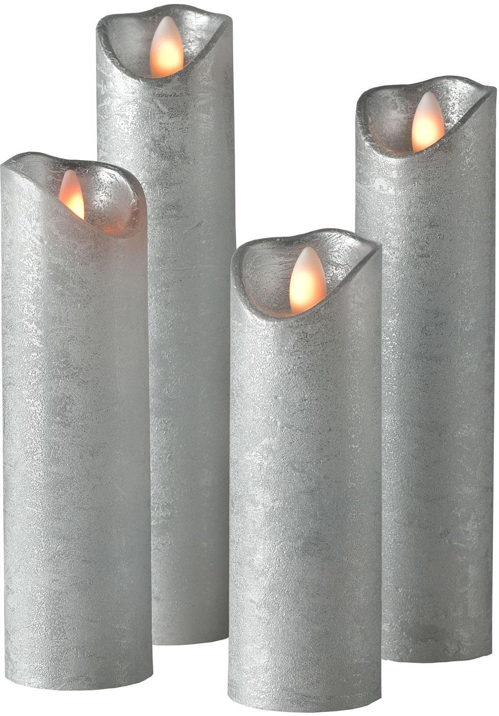 Sompex Valcová sviečka Shine LED, 4ks Ø 5 cm strieborná