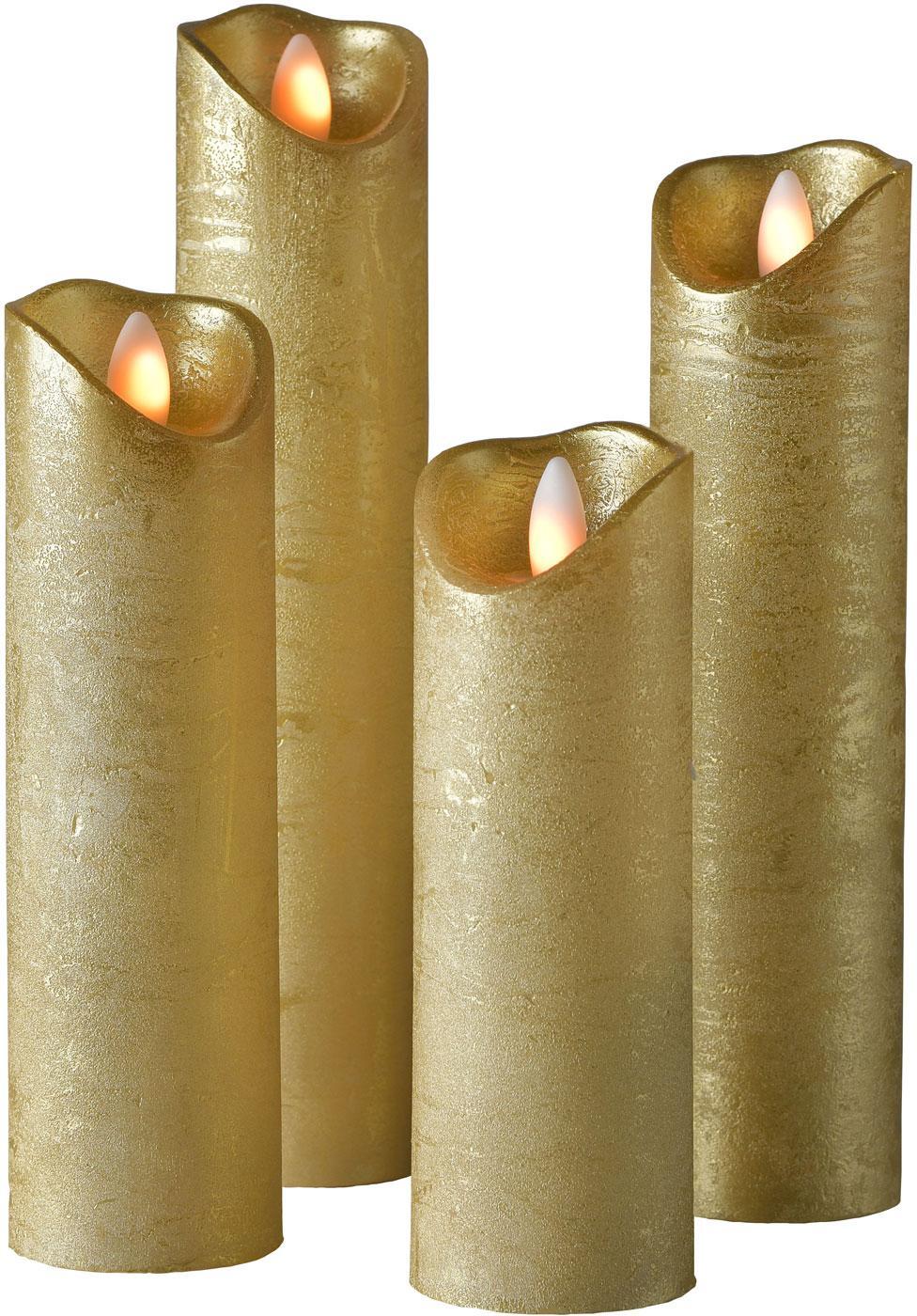 Sompex Valcová sviečka Shine LED, 4ks, Ø 5 cm, zlatá