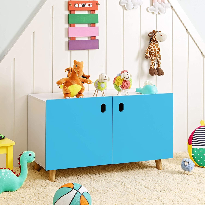 SONGMICS Skrinka na hračky modrobiela 80 x 47 x 35 cm