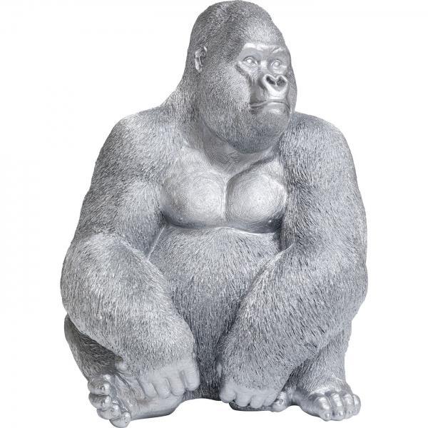 Soška Gorila sedící Stříbrná 76cm
