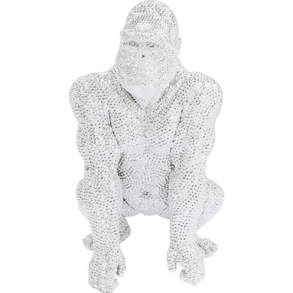 Soška Gorila stojící Stříbrná 80cm