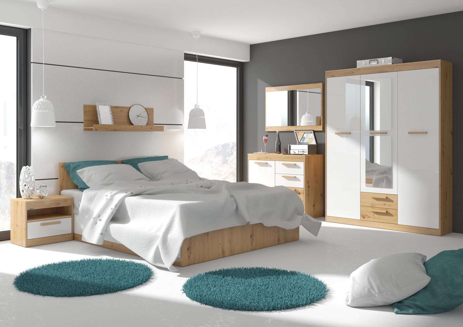 Spálňa Maximus WIP 12 Farba: Dub ARTISAN/biela lesk