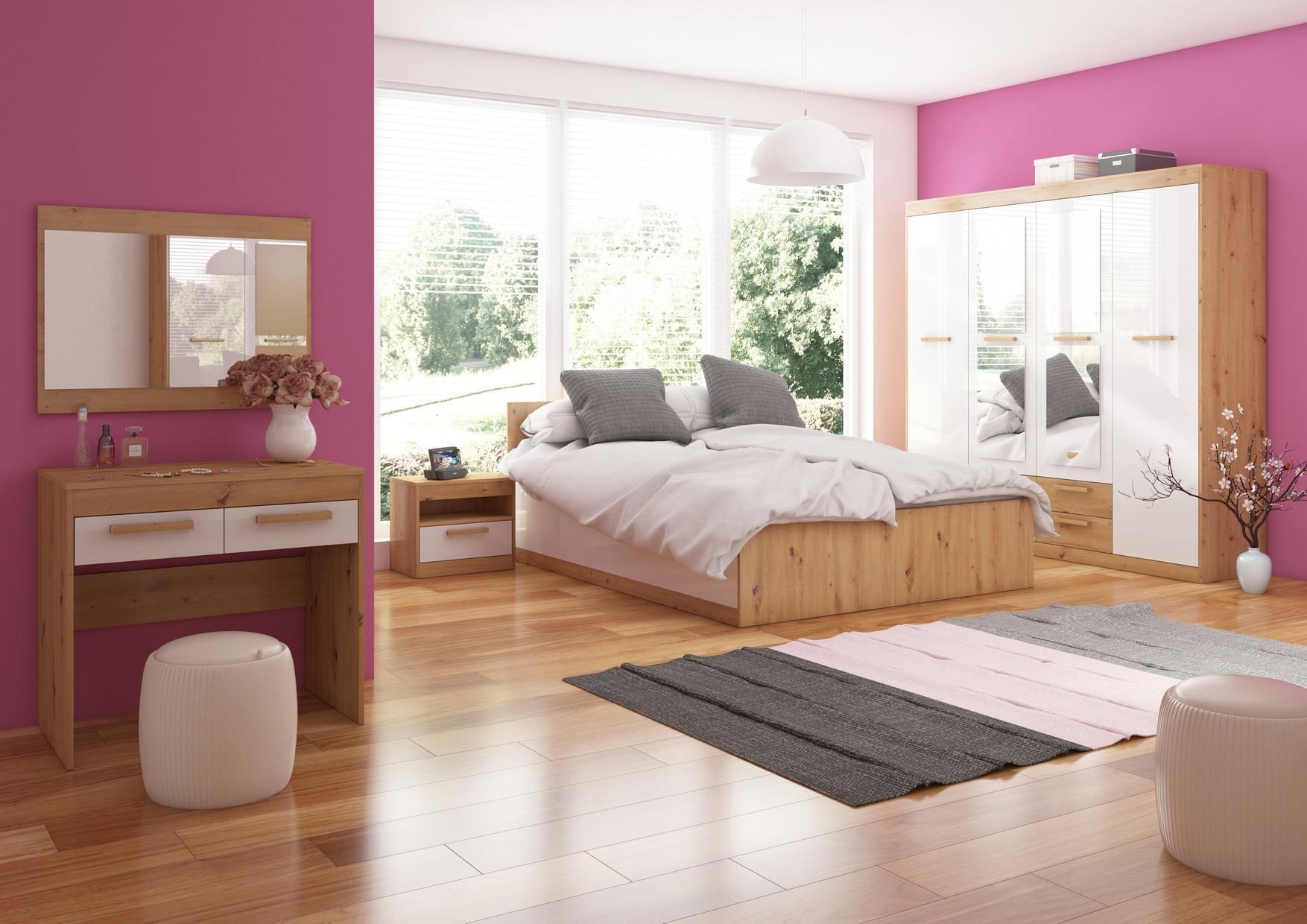 Spálňa Maximus WIP 13 Farba: Dub ARTISAN/biela lesk