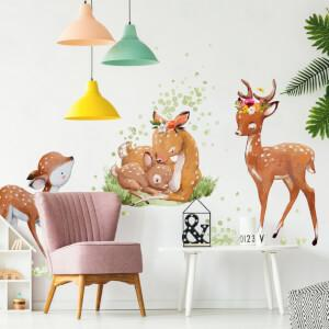 Srnčia rodinka - akvarelové nálepky na stenu