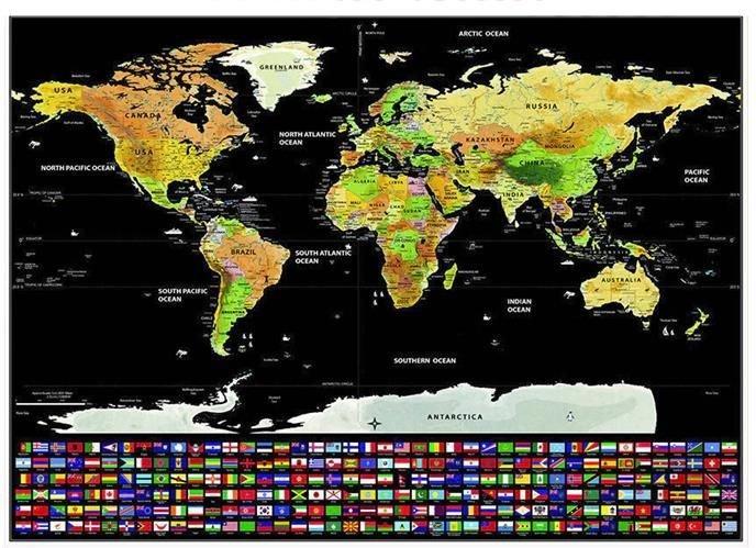 Stieracia mapa sveta s vlajkami 82x59cm IS9409