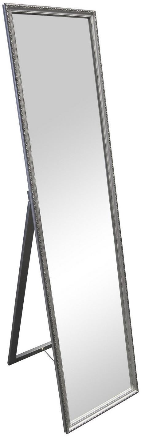 Stojace zrkadlo Lisa 34x160 cm, strieborné, ornamenty