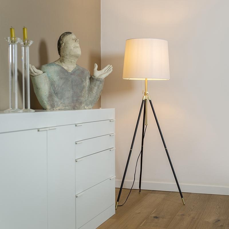 Stojací lampa statív čierna s nastaviteľným krémovým odtieňom - Scopo