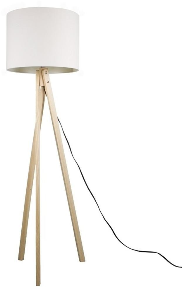 Stojacia lampa, biela/prírodné drevo, LILA TYP 6 LS2062