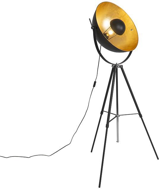 Stojacia lampa čierna so zlatým 51 cm nastaviteľným statívom - Magnax
