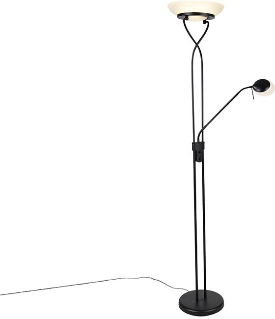 Stojacia lampa čierna vrátane LED a stmievača s lampou na čítanie - Empoli