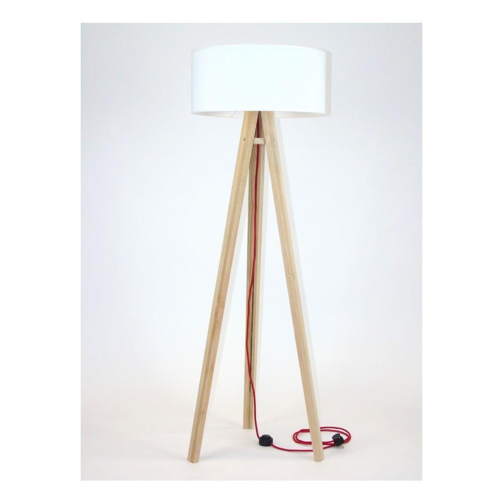 Stojacia lampa s bielym tienidlom a červeným káblom Ragaba Wanda
