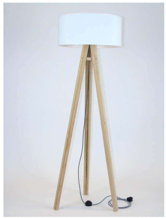 Stojacia lampa s bielym tienidlom a čierno-bielym káblom Ragaba Wanda