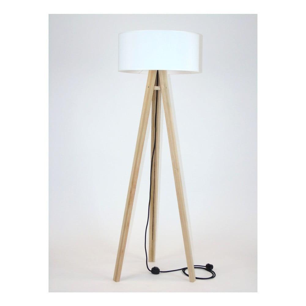 Stojacia lampa s bielym tienidlom a čiernym káblom Ragaba Wanda
