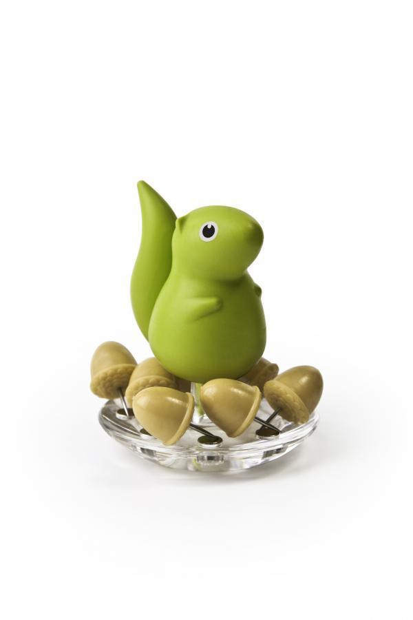 Stojanček s pripínačkami Qualy Squirrel & Acorn, zelený