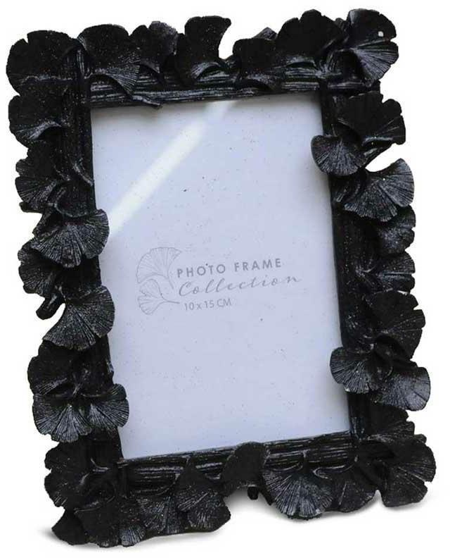 Stojící fotorámeček s listmi Aisha 17x15 cm černý