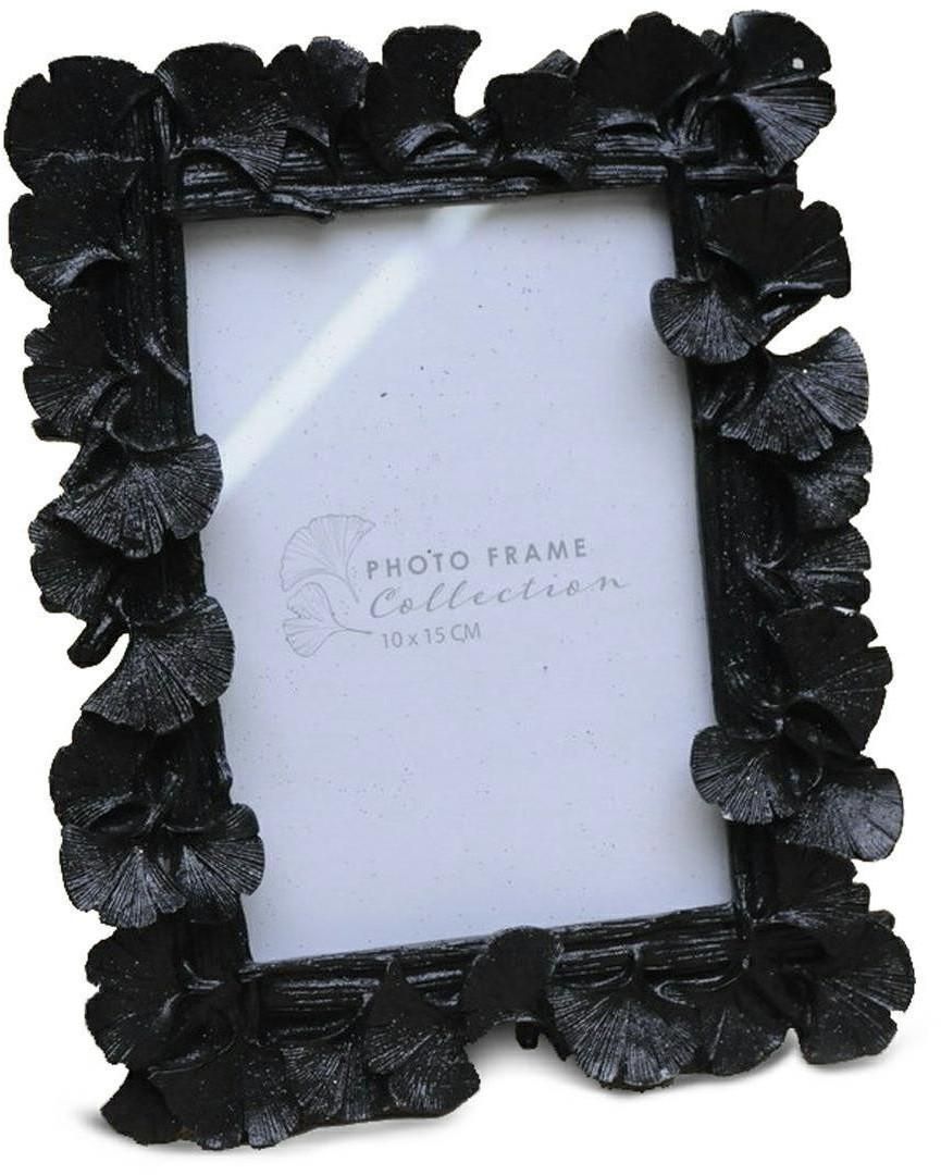 Stojící fotorámeček s listmi Aisha 20x16 cm černý