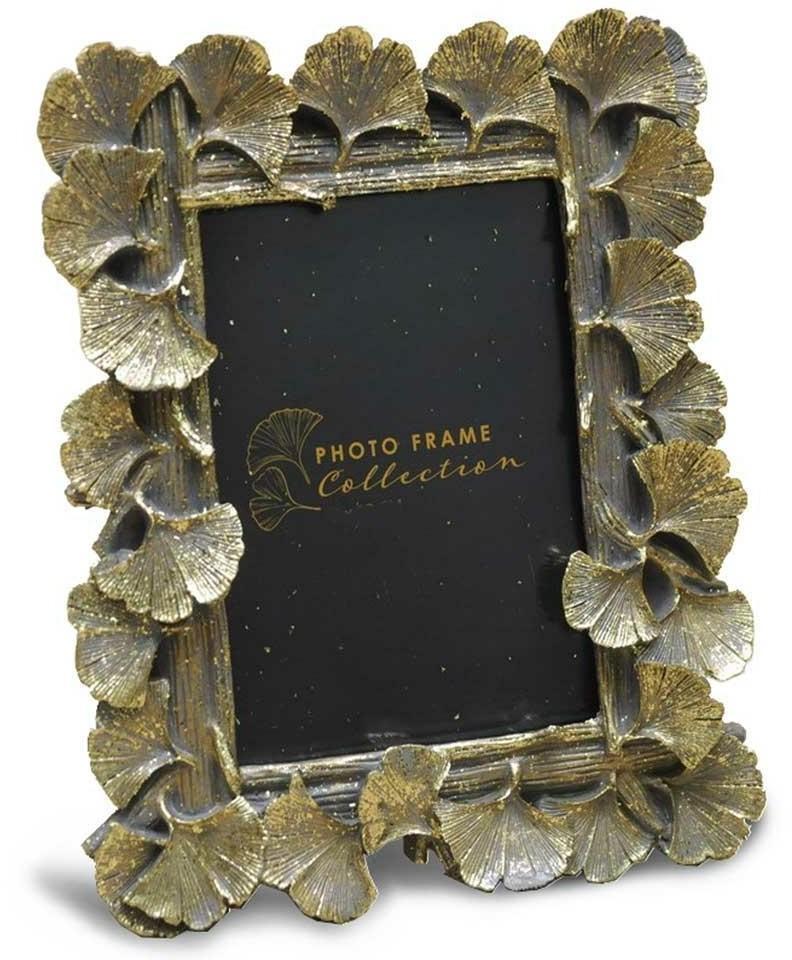 Stojící fotorámeček s listmi Aisha 20x16 cm zlatý