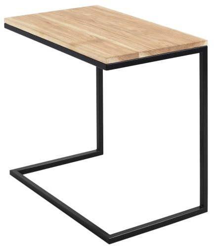 Stôl s čiernou podnožou s doskou z masívneho dubu Custom Form Lupe