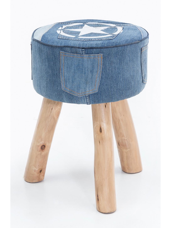 Stolička trojnožka Dana, 35 × 50 cm, modrý denim