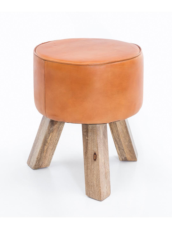 Stolička trojnožka Dana, 37 × 45 cm, hnedá koža