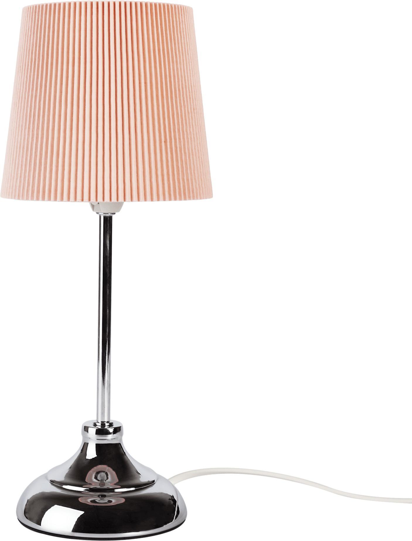 Stolná lampa, kov/ružové textilné tienidlo, GAIDEN