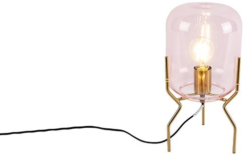 Stolná lampa v štýle art deco mosadz ružové sklo - Bliss