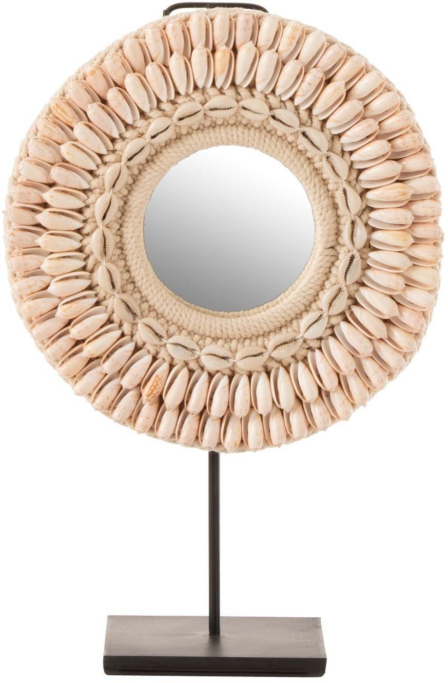 Stolný okrúhle zrkadlo v ráme z mušličiek - Ø 25 * 12 * 41 cm