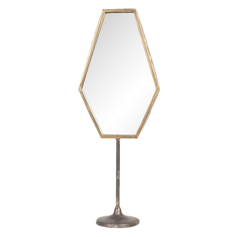 Stolný vintage zrkadlo s hnedo-zlatým rámom - 16 * 9 * 45 cm