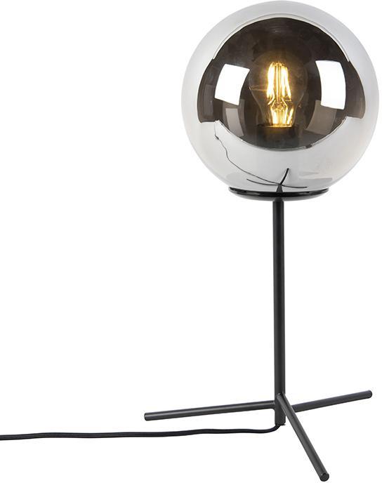 Stolová lampa v štýle art deco čierna s dymovým sklom 45,5 cm - Pallon