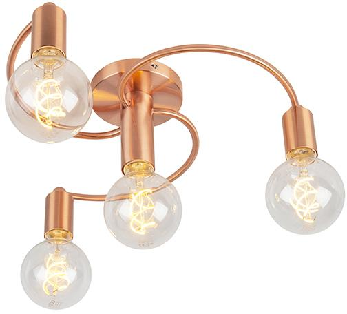 Stropná lampa v štýle art deco medená 4-žiarovka - Facil