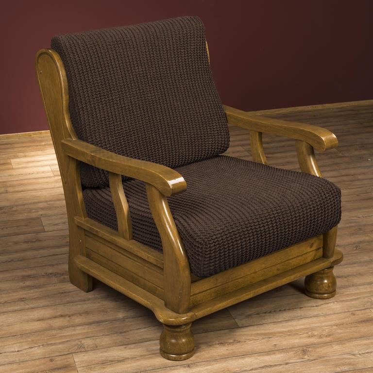 Super strečové poťahy GLAMOUR hnedá kreslo s drevenými rúčkami (š. 60 - 80 cm)