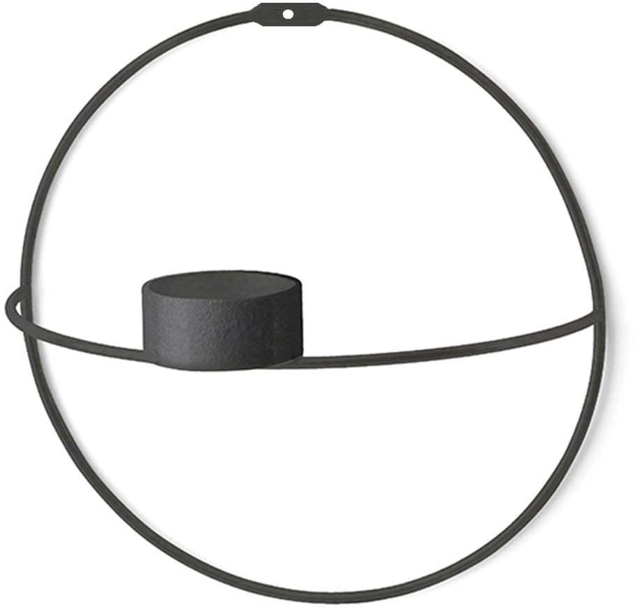 Súprava 2 čiernych nástenných svietnikov Circle, ø 21 cm