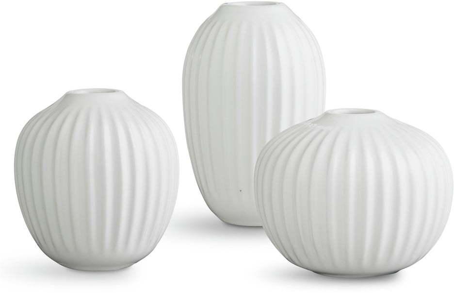 Súprava 3 miniatúrnych kameninových bielych váz Kähler Design Hammershoi Miniature