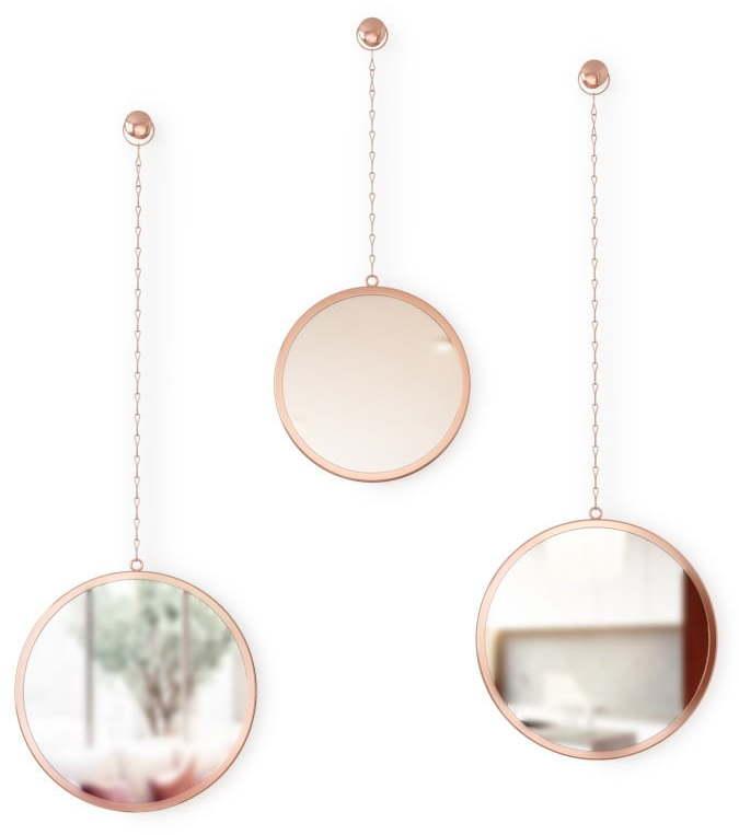 Súprava 3 závesných zrkadiel na reťazi v medenej farbe Umbra Rondo