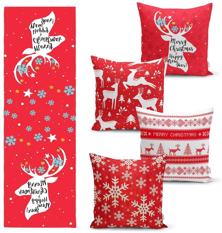 Súprava 4 vianočných obliečok na vankúš a behúň na stôl Minimalist Cushion Covers Joy