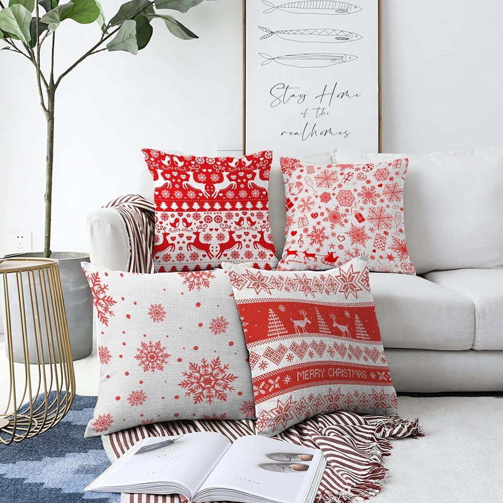 Súprava 4 vianočných žinylkových obliečok na vankúš Minimalist Cushion Covers Red Snowflakes, 55 x 55 cm