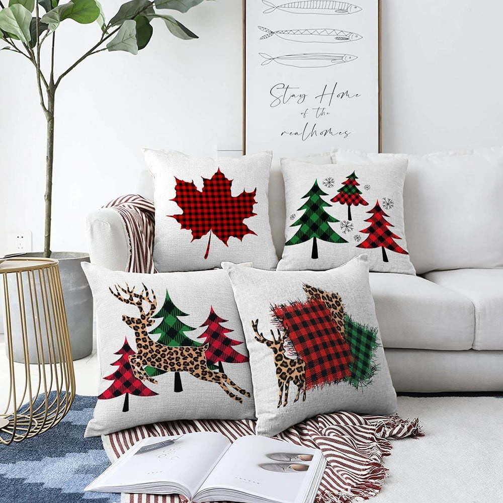 Súprava 4 žinylkových obliečok na vankúš Minimalist Cushion Covers Leaf, 55 x 55 cm