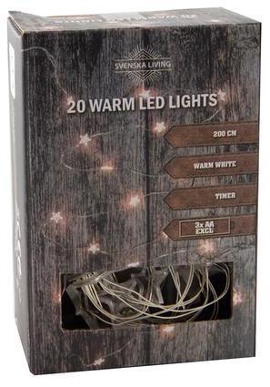 SVENSKA LIVING Vianočná svetelná reťaz 20LED hviezdy s časovačom 2m