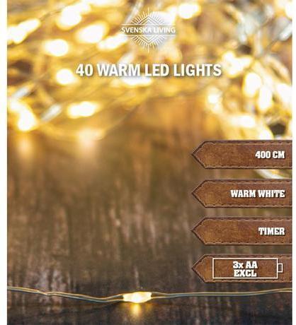 SVENSKA LIVING Vianočná svetelná reťaz 40LED 4m časovačom