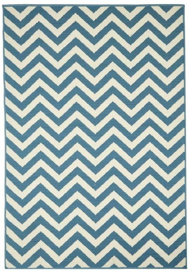 Svetlomodrý vonkajší koberec Floorita Waves, 160 × 230 cm