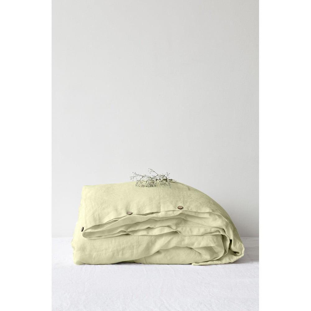 Svetlozelená ľanová obliečka na perinu Linen Tales, 200 x 200 cm